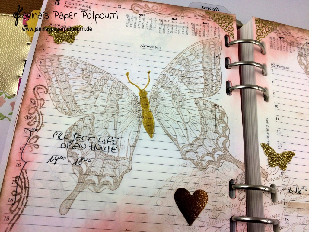 filofax daily deko swallowtail in ros und taupe mit goldene akzenten. Black Bedroom Furniture Sets. Home Design Ideas